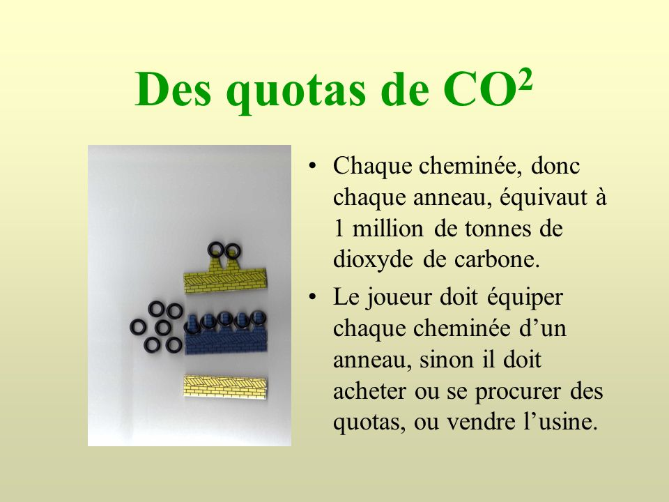 Des quotas de CO2 Chaque cheminée, donc chaque anneau, équivaut à 1 million de tonnes de dioxyde de carbone.