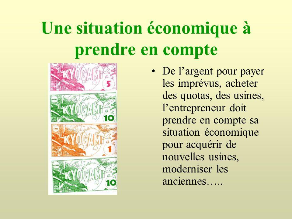 Une situation économique à prendre en compte