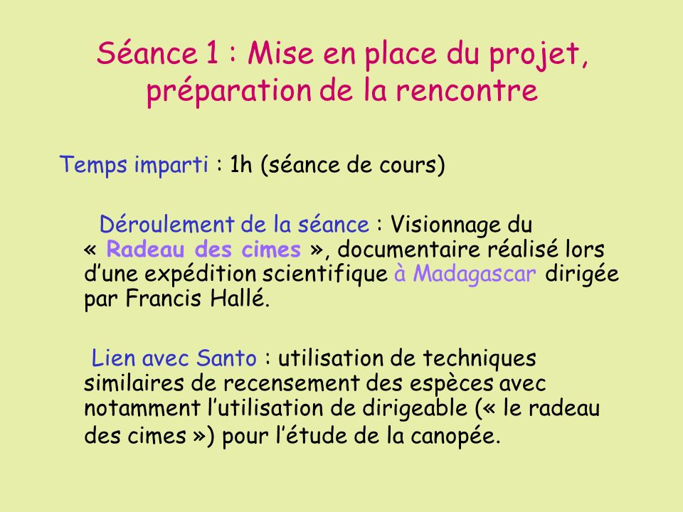 Séance 1 : Mise en place du projet, préparation de la rencontre