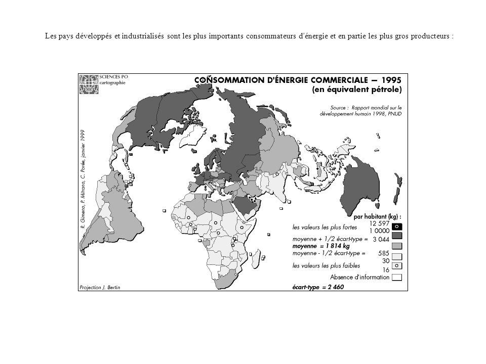 Les pays développés et industrialisés sont les plus importants consommateurs d énergie et en partie les plus gros producteurs :