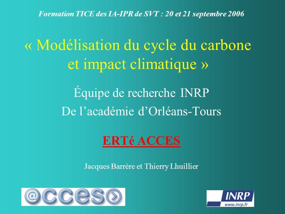 « Modélisation du cycle du carbone et impact climatique »