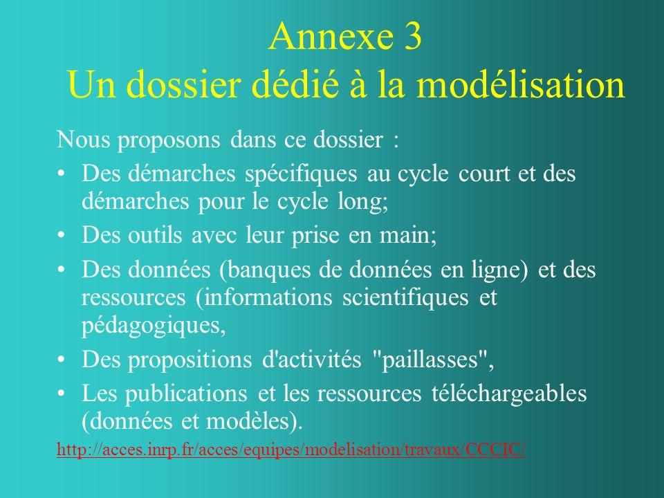 Annexe 3 Un dossier dédié à la modélisation