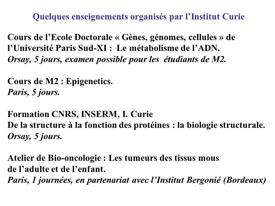 Quelques enseignements organisés par l'Institut Curie