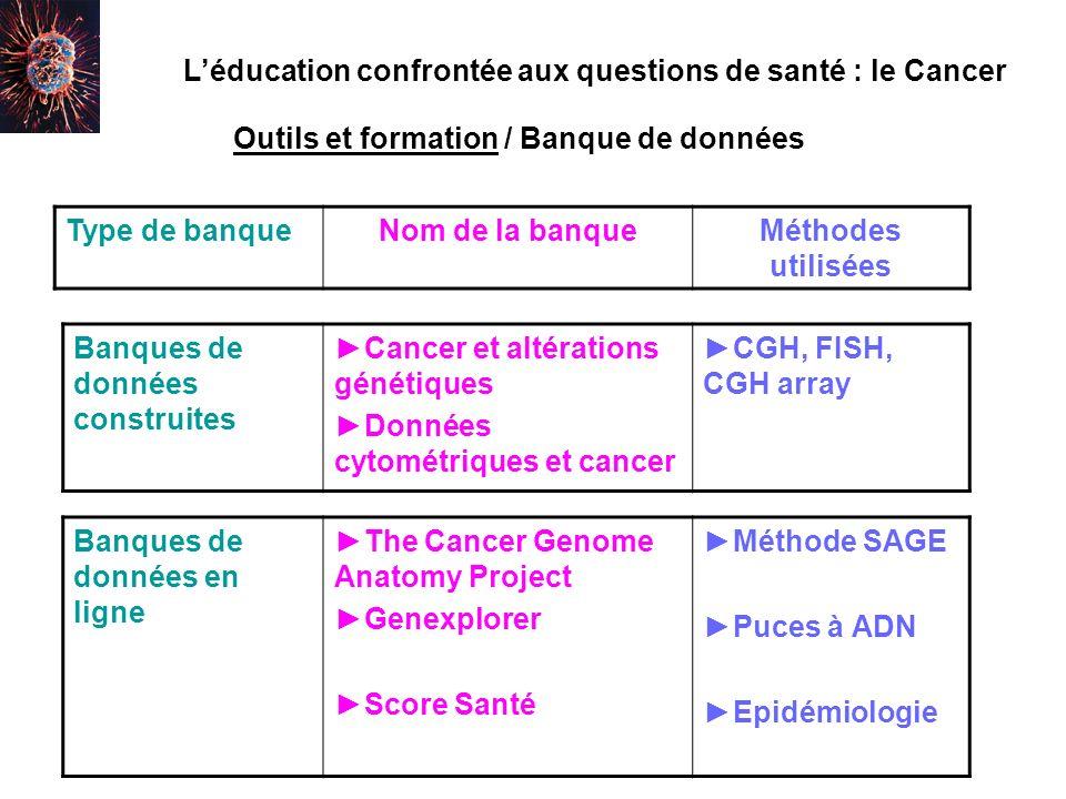 L'éducation confrontée aux questions de santé : le Cancer