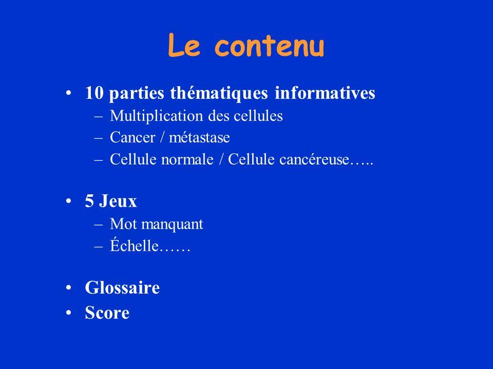 Le contenu 10 parties thématiques informatives 5 Jeux Glossaire Score