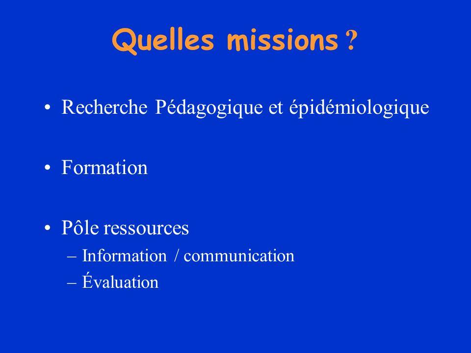 Quelles missions Recherche Pédagogique et épidémiologique Formation