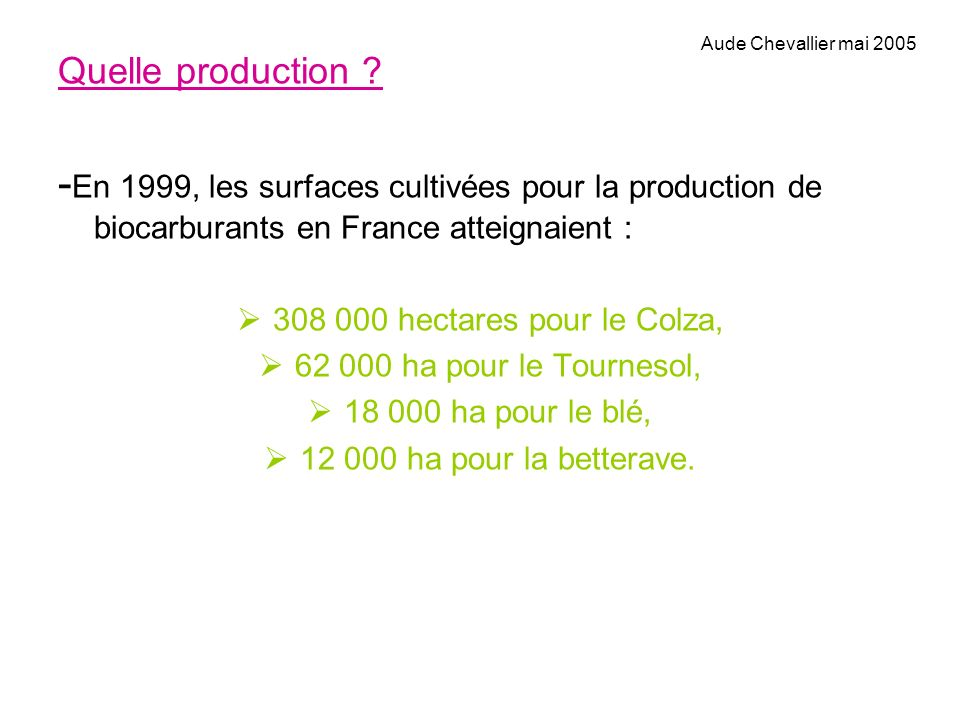 Aude Chevallier mai 2005 Quelle production -En 1999, les surfaces cultivées pour la production de biocarburants en France atteignaient :