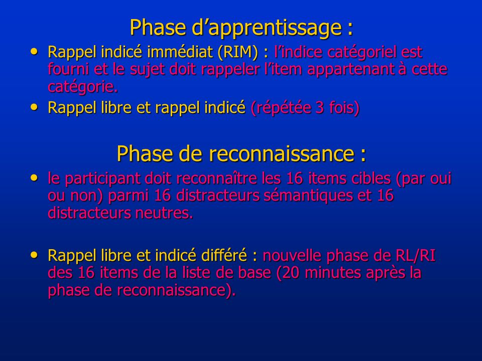 Phase d'apprentissage :