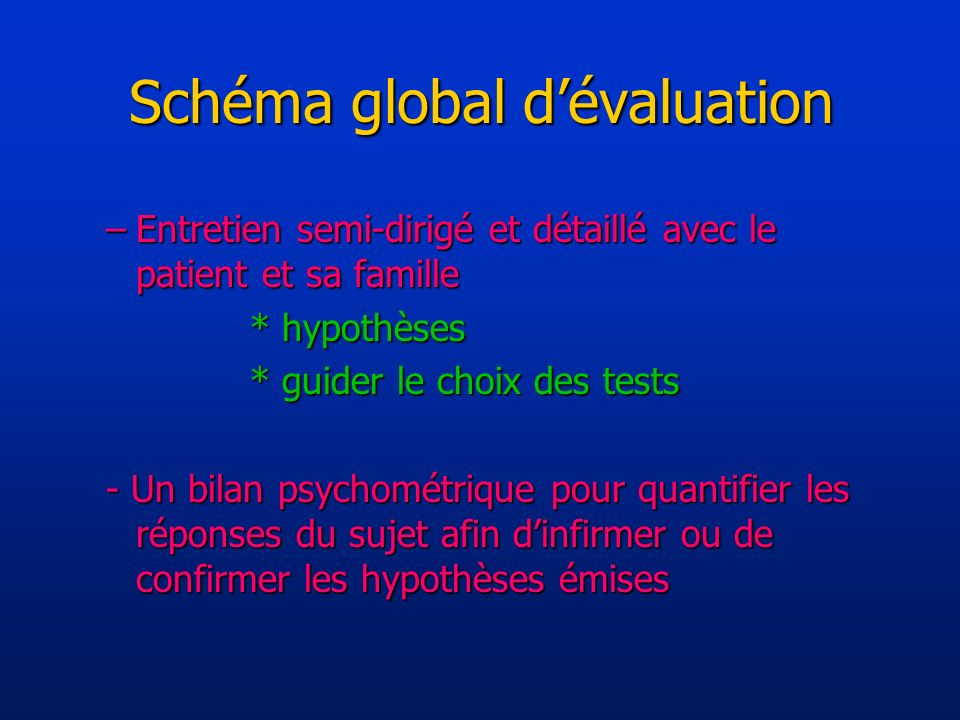 Schéma global d'évaluation