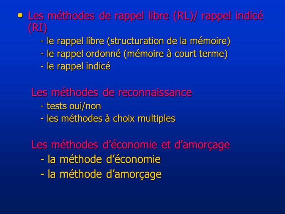 Les méthodes de rappel libre (RL)/ rappel indicé (RI)