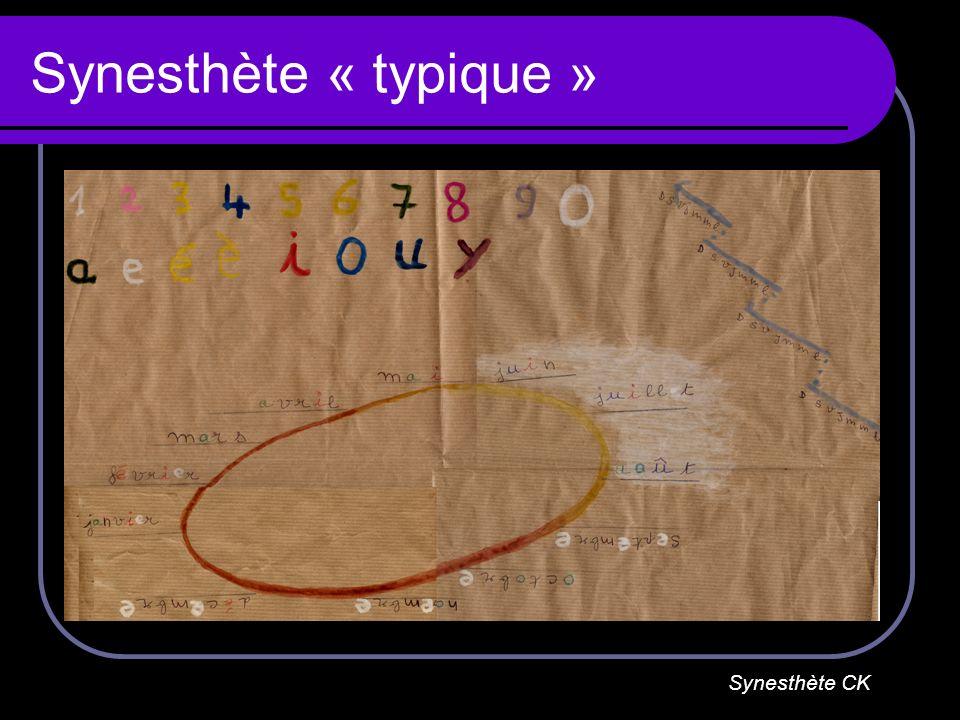 Synesthète « typique » Synesthète CK