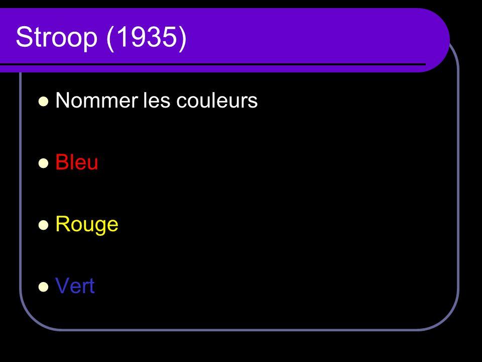 Stroop (1935) Nommer les couleurs Bleu Rouge Vert
