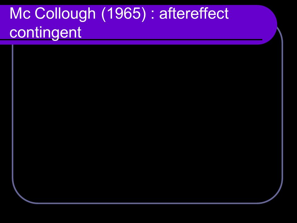 Mc Collough (1965) : aftereffect contingent
