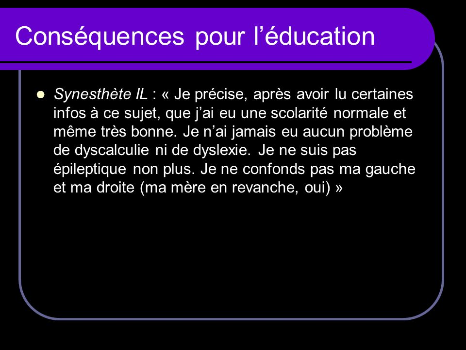 Conséquences pour l'éducation