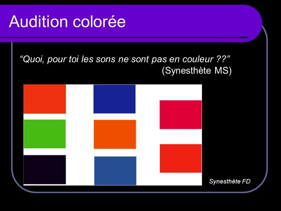 Audition colorée Quoi, pour toi les sons ne sont pas en couleur