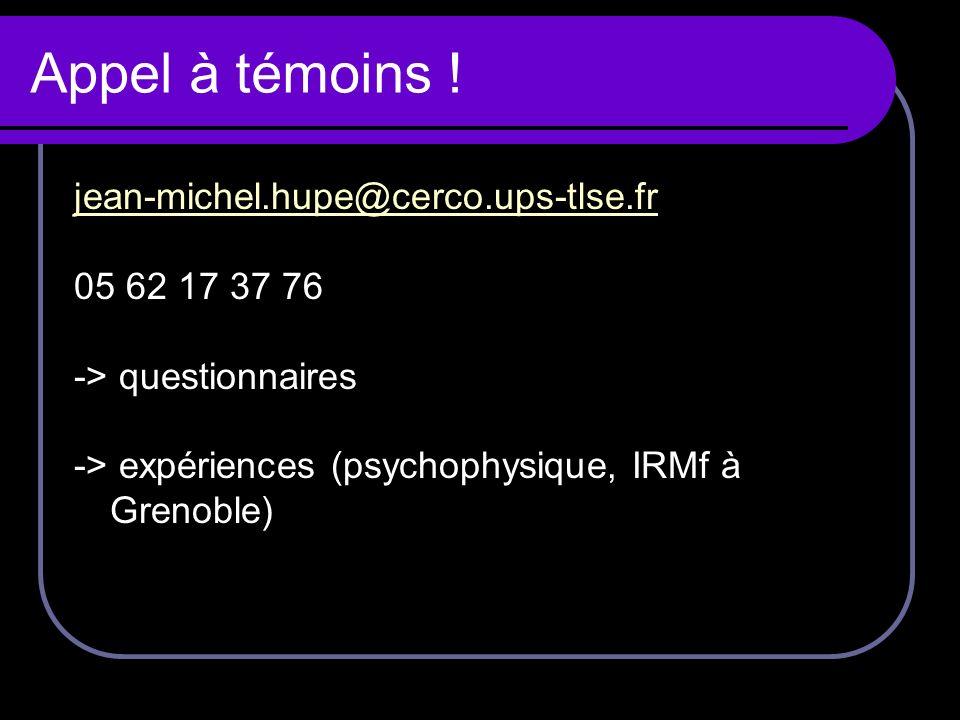 Appel à témoins ! jean-michel.hupe@cerco.ups-tlse.fr 05 62 17 37 76