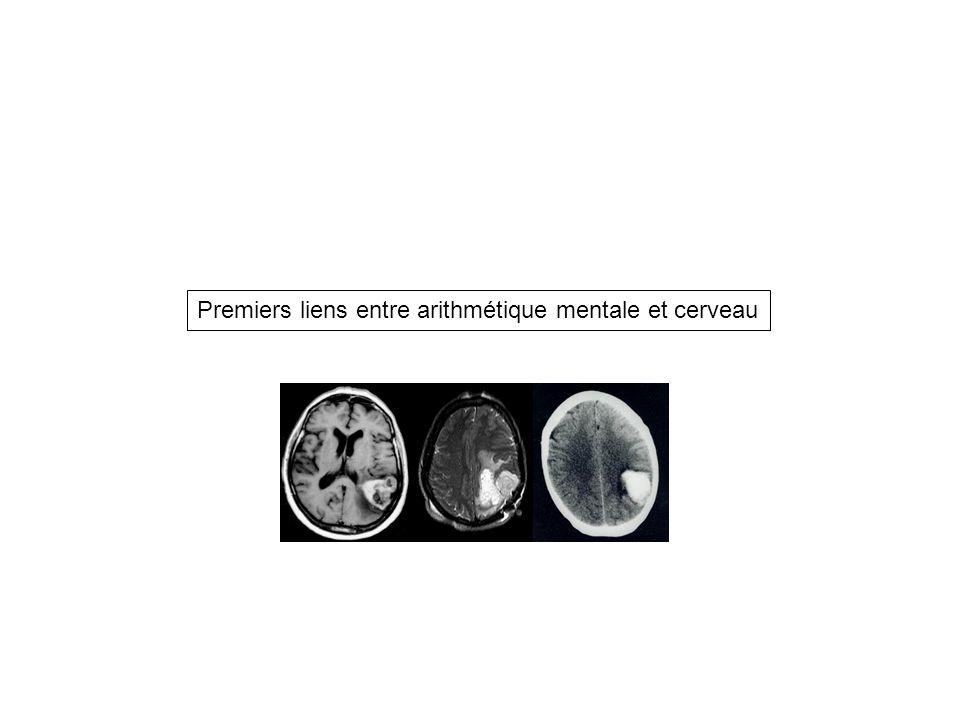 Premiers liens entre arithmétique mentale et cerveau