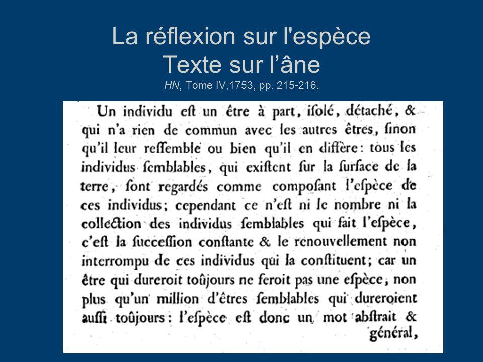 La réflexion sur l espèce Texte sur l'âne HN, Tome IV,1753, pp. 215-216.