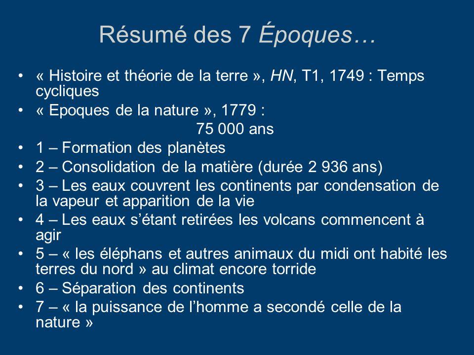 Résumé des 7 Époques… « Histoire et théorie de la terre », HN, T1, 1749 : Temps cycliques. « Epoques de la nature », 1779 :