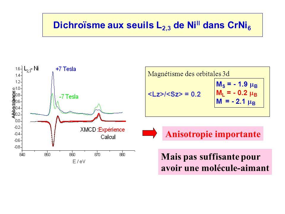 Dichroïsme aux seuils L2,3 de NiII dans CrNi6