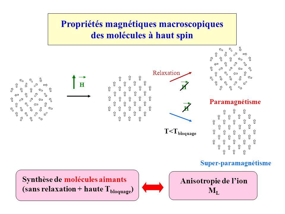 Propriétés magnétiques macroscopiques des molécules à haut spin