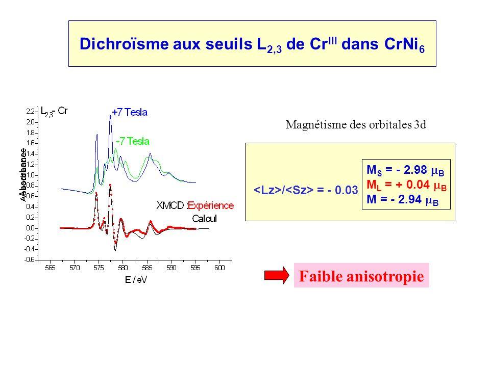 Dichroïsme aux seuils L2,3 de CrIII dans CrNi6