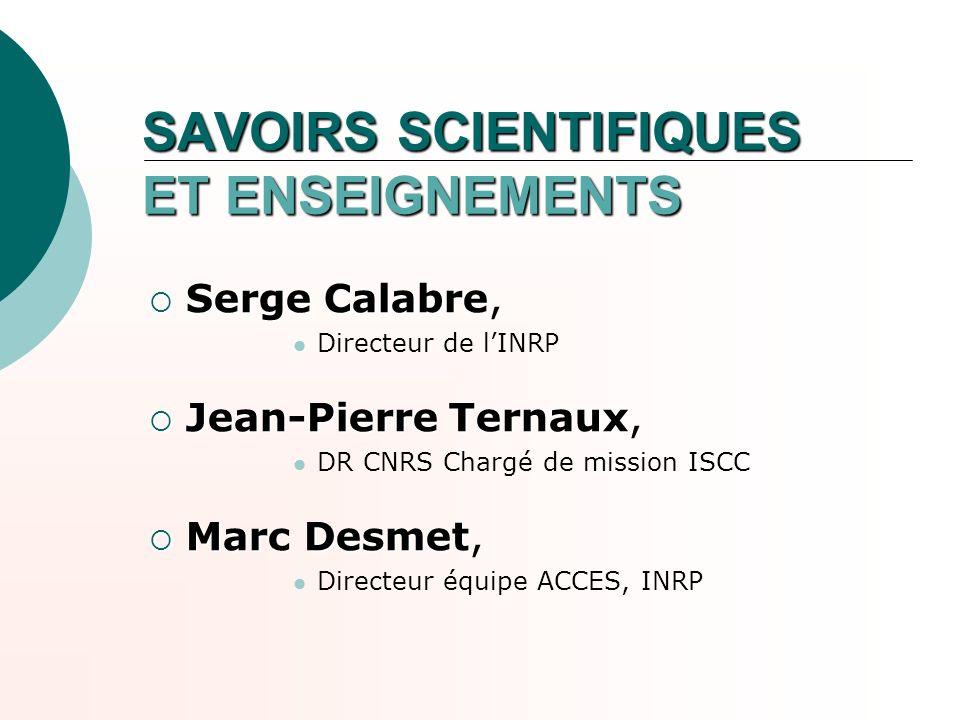 SAVOIRS SCIENTIFIQUES ET ENSEIGNEMENTS