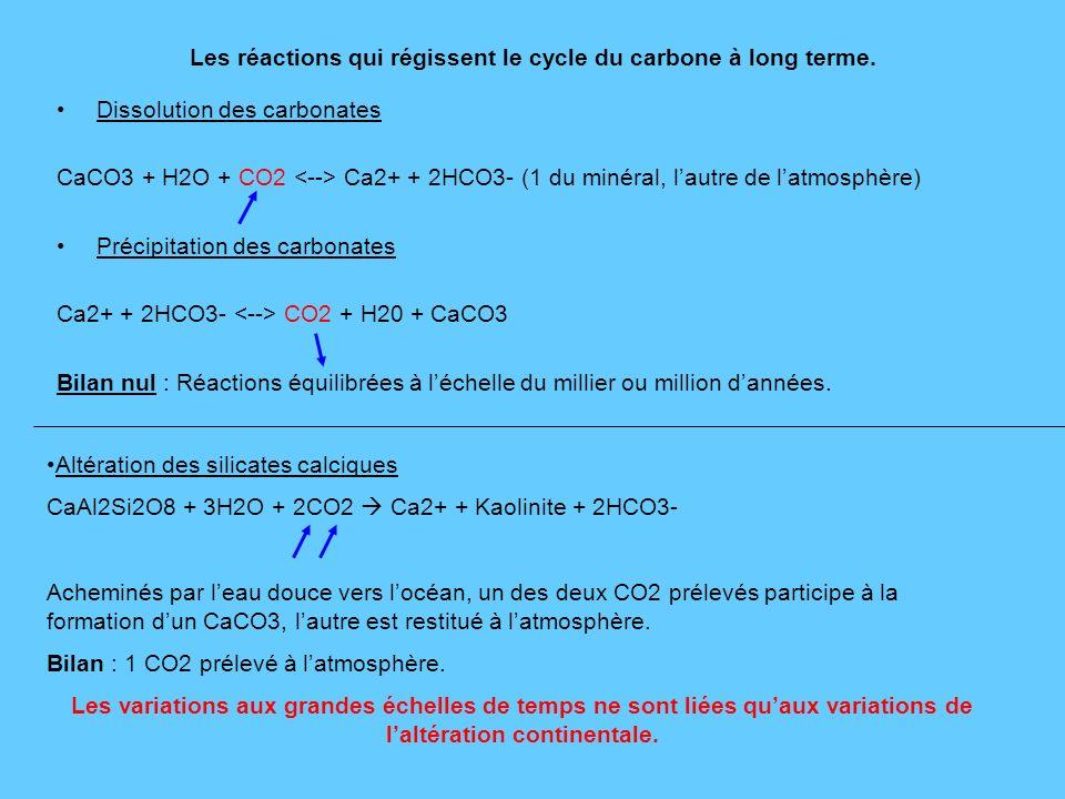 Les réactions qui régissent le cycle du carbone à long terme.
