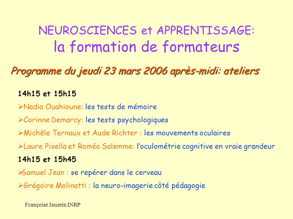 NEUROSCIENCES et APPRENTISSAGE: la formation de formateurs