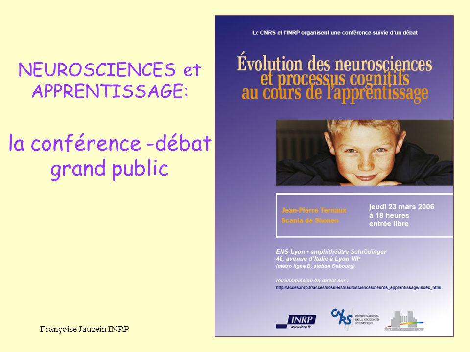 NEUROSCIENCES et APPRENTISSAGE: la conférence -débat grand public