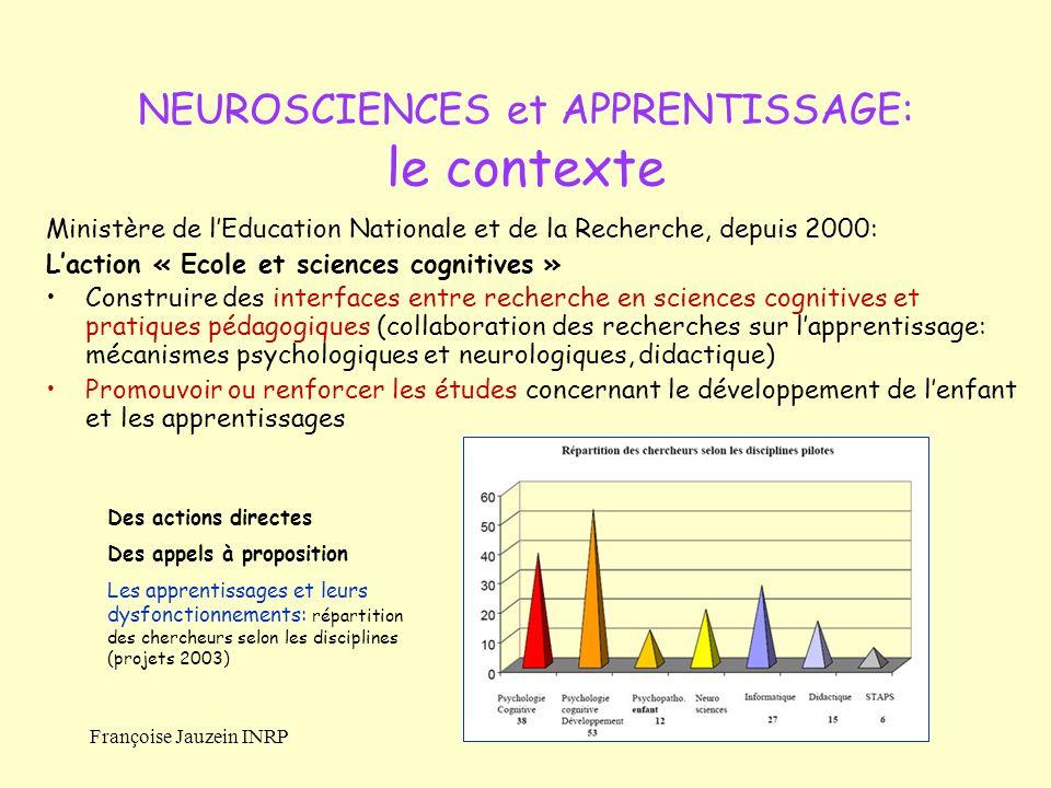 NEUROSCIENCES et APPRENTISSAGE: le contexte