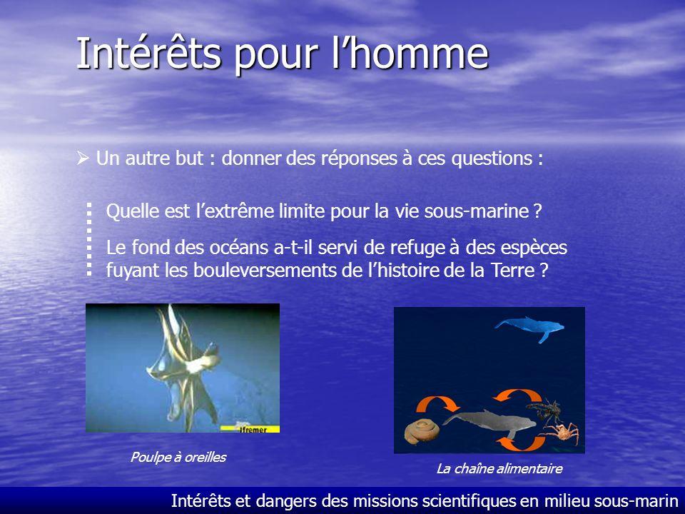 Intérêts pour l'homme  Un autre but : donner des réponses à ces questions : Quelle est l'extrême limite pour la vie sous-marine