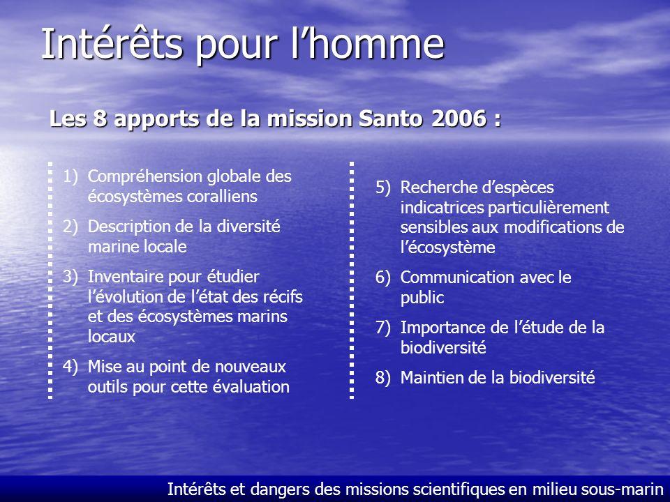 Intérêts pour l'homme Les 8 apports de la mission Santo 2006 :