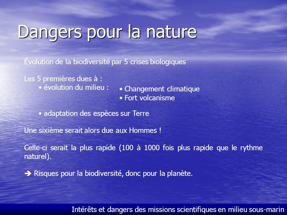 Dangers pour la nature Évolution de la biodiversité par 5 crises biologiques. Les 5 premières dues à :