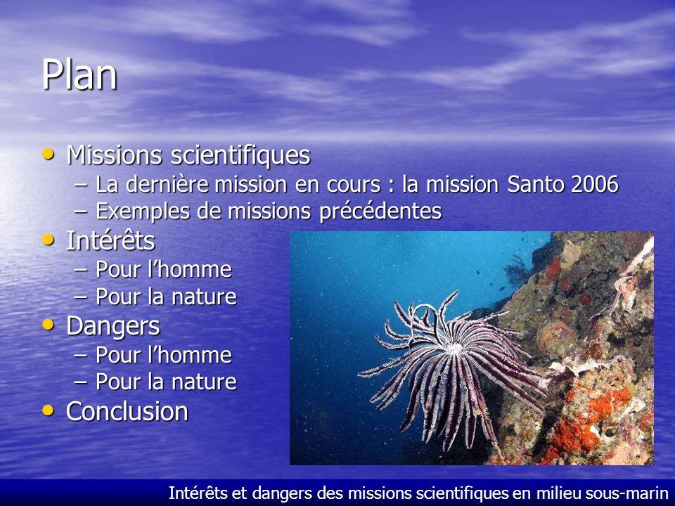 Plan Missions scientifiques Intérêts Dangers Conclusion
