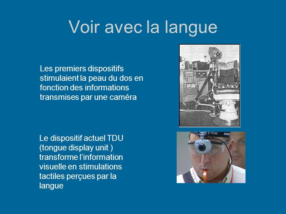 Voir avec la langue Les premiers dispositifs stimulaient la peau du dos en fonction des informations transmises par une caméra.