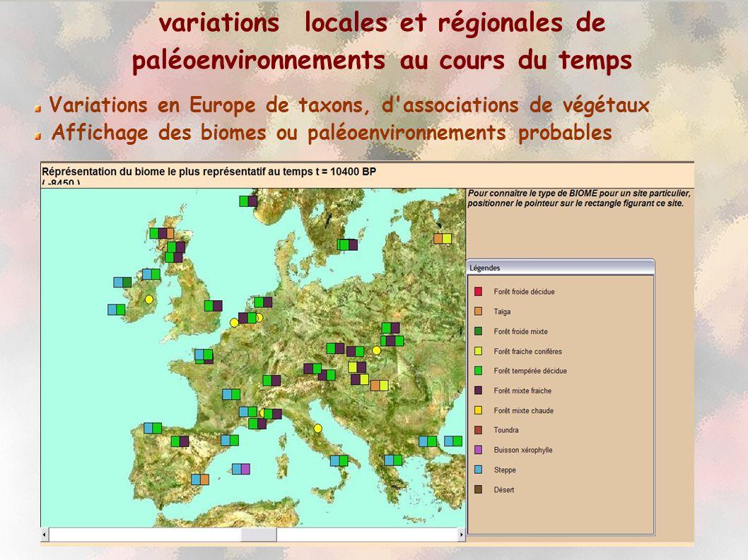 variations locales et régionales de paléoenvironnements au cours du temps