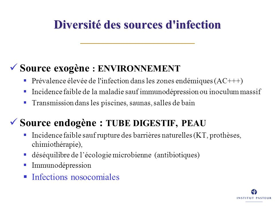 Diversité des sources d infection