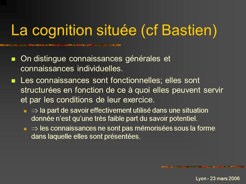 La cognition située (cf Bastien)