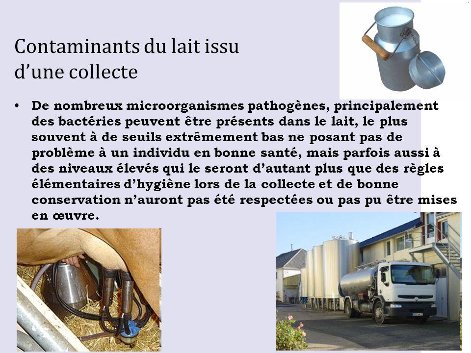 Contaminants du lait issu d'une collecte