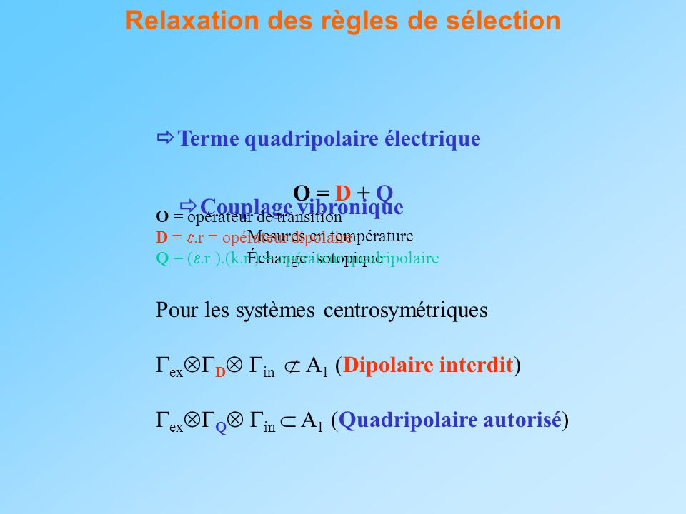 Relaxation des règles de sélection