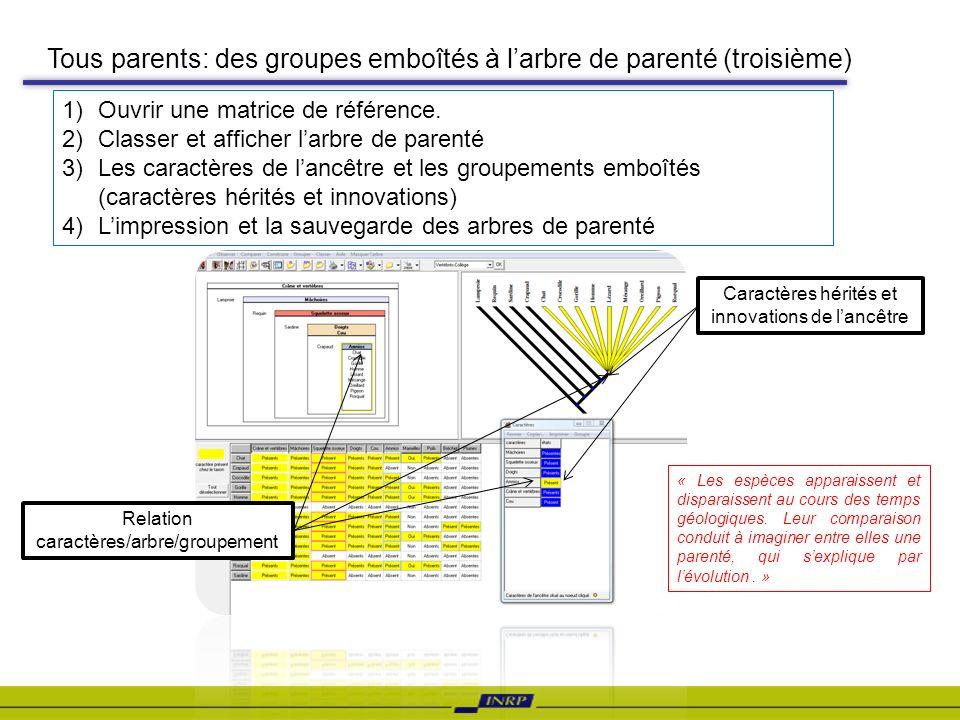 Tous parents: des groupes emboîtés à l'arbre de parenté (troisième)