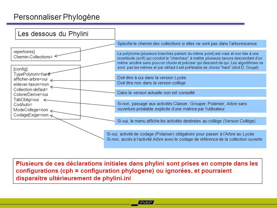 Personnaliser Phylogène