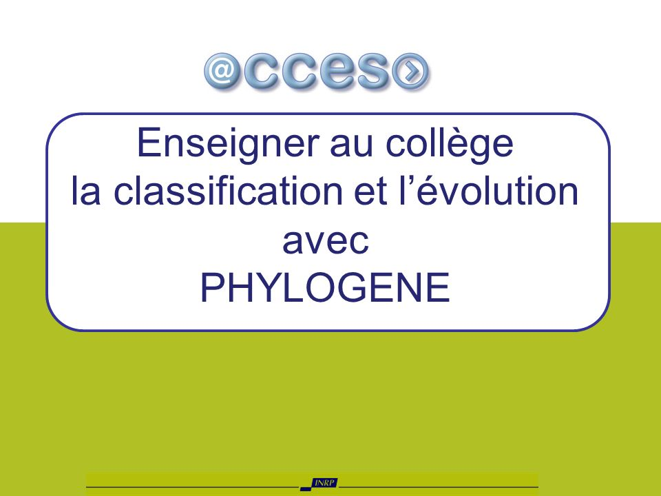 la classification et l'évolution