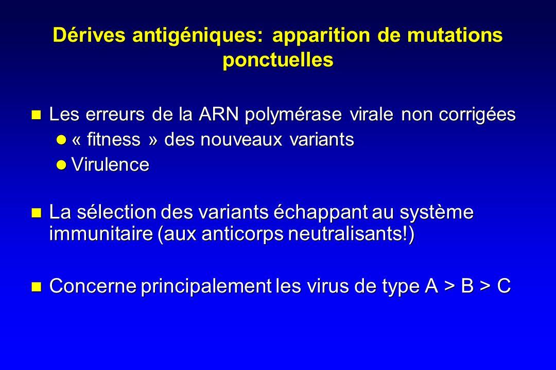 Dérives antigéniques: apparition de mutations ponctuelles
