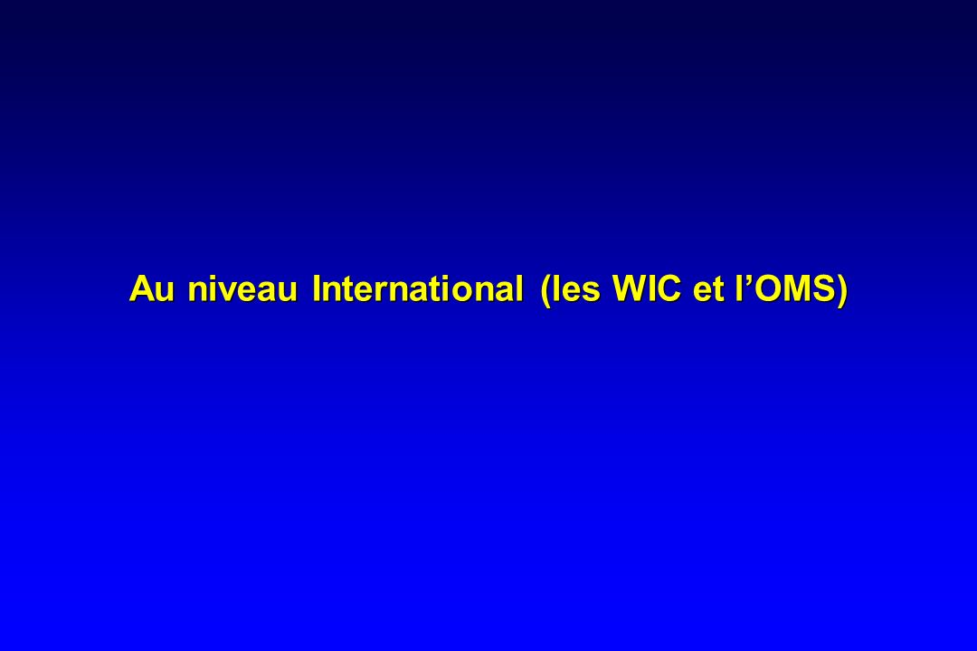 Au niveau International (les WIC et l'OMS)