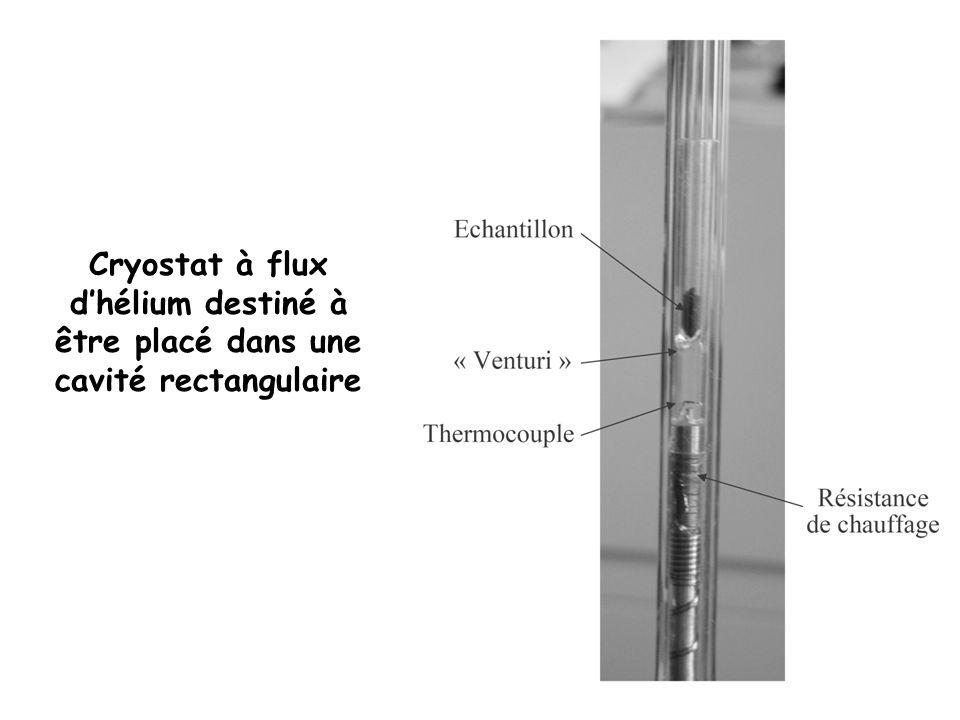 Cryostat à flux d'hélium destiné à être placé dans une cavité rectangulaire
