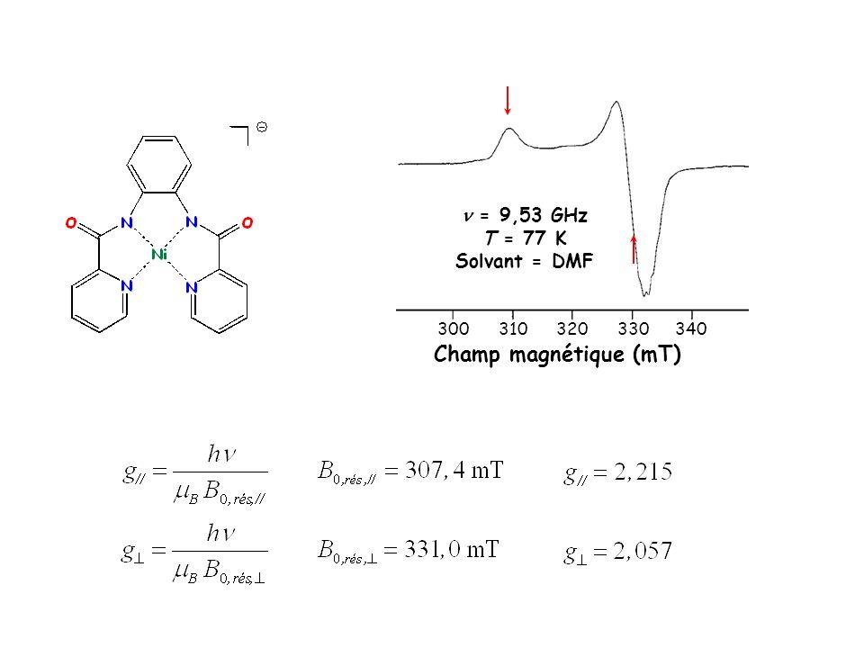 Champ magnétique (mT)  = 9,53 GHz T = 77 K Solvant = DMF 300 310 320