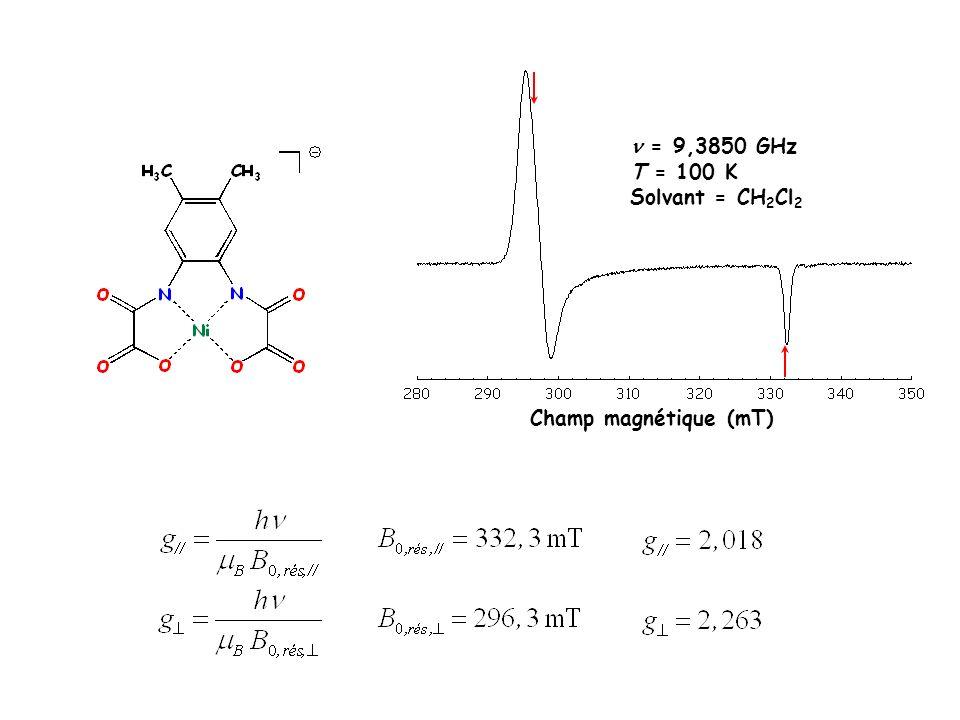  = 9,3850 GHz T = 100 K Solvant = CH2Cl2 Champ magnétique (mT)