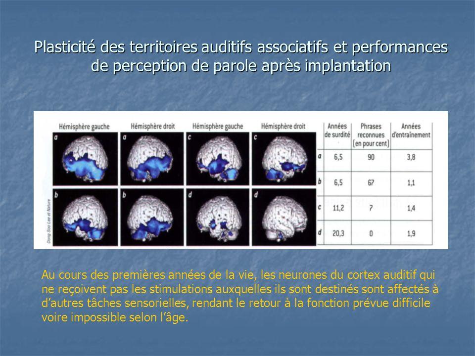 Plasticité des territoires auditifs associatifs et performances de perception de parole après implantation
